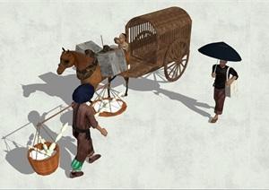 中国古代人物素材SU(草图大师)模型