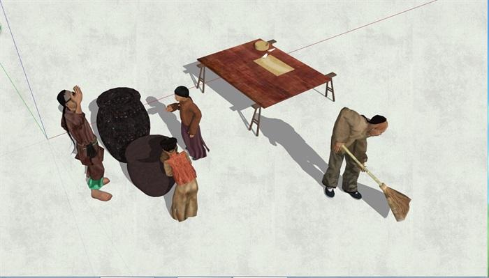 中国古代人物素材su模型2[原创]