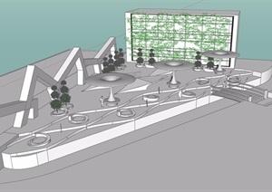 现代无材质休闲公园景观SU(草图大师)模型