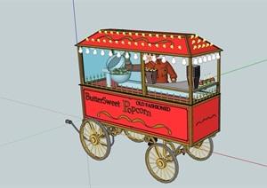 欧式风格售卖车素材设计SU(草图大师)模型