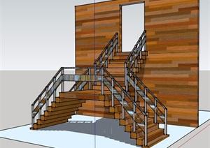 现代风格建筑楼楼梯详细设计SU(草图大师)模型