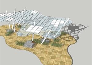 參數化曲線創意造型玻璃涼亭雨棚廊架外環境設計