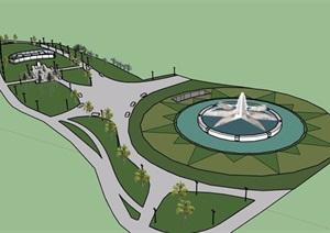 休闲现代公园景观设计SU(草图大师)模型