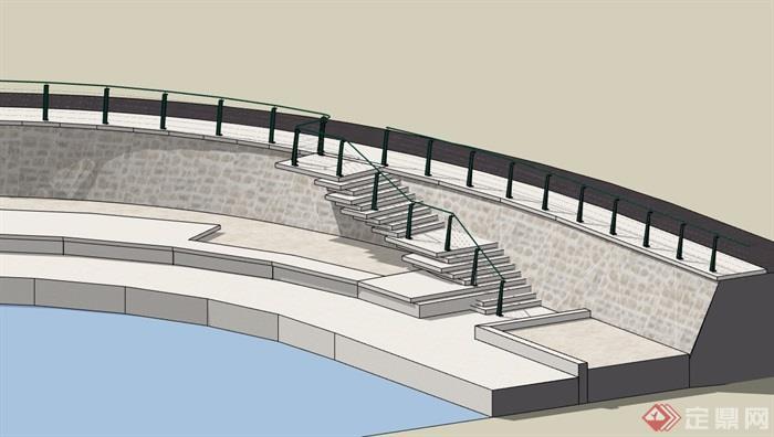 某现代楼梯栏杆设计su模型[原创]
