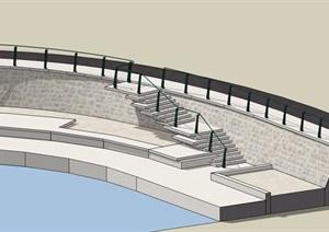 某現代樓梯欄桿設計SU(草圖大師)模型