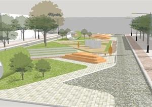 现代城市绿地景观规划设计SU(草图大师)模型