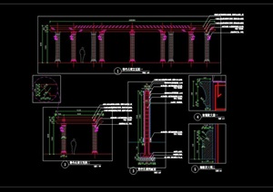 弧形长廊弧形花架弧形廊架施工图详图