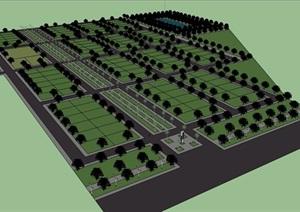 现代风格农业园区详细景观SU(草图大师)模型