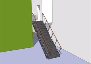 某现代铁艺楼梯设计SU(草图大师)模型