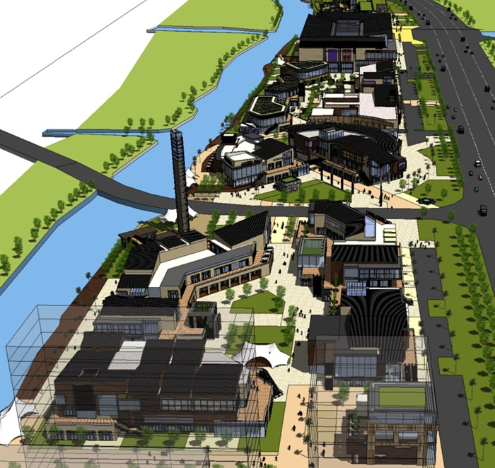 现代滨河商业街建筑设计su模型[原创]