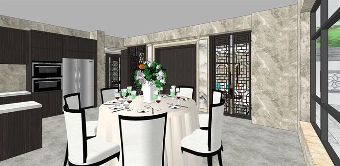 新中式别墅室内(1)