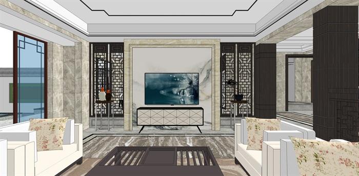 新中式别墅室内(5)