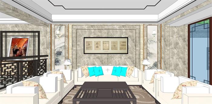 新中式别墅室内(6)