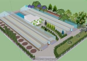 某现代风格农业大棚园设计SU(草图大师)模型