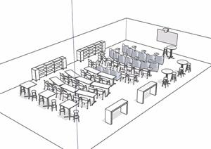 某简单的教室设计SU(草图大师)模型