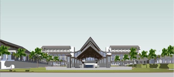 某隐秀山居酒店 东南亚风格 su精细模型收藏(3)