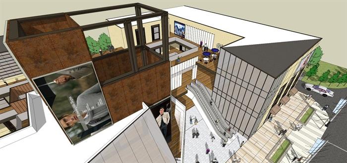小型现代商业街 su精细模型收藏(6)