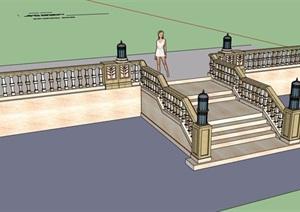 歐式風格樓梯欄桿素材設計SU(草圖大師)模型