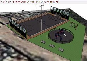园林景观体育场地建设SU(草图大师)模型