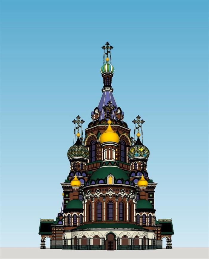莫斯科滴血大教堂su精细精致模型(1)