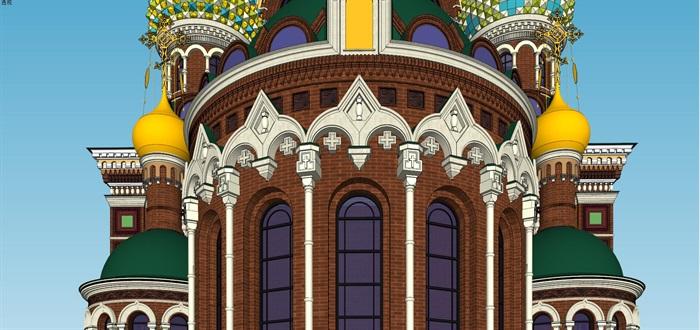 莫斯科滴血大教堂su精细精致模型(3)