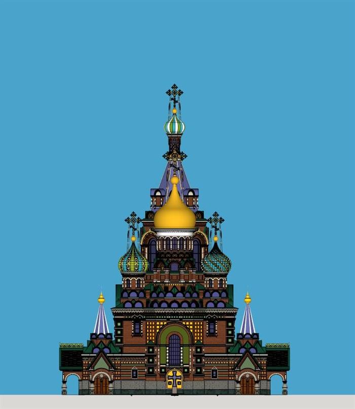 莫斯科滴血大教堂su精细精致模型(4)