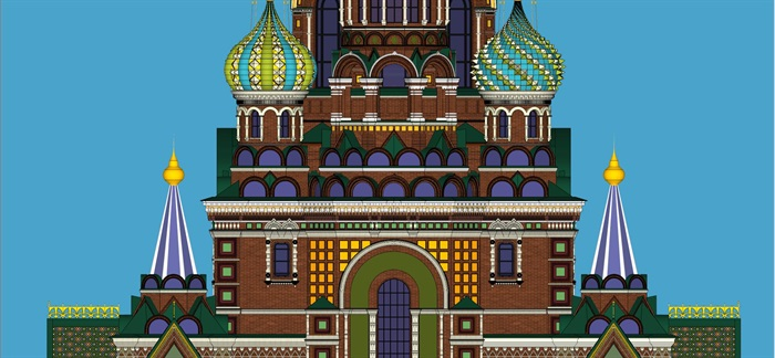 莫斯科滴血大教堂su精细精致模型(5)