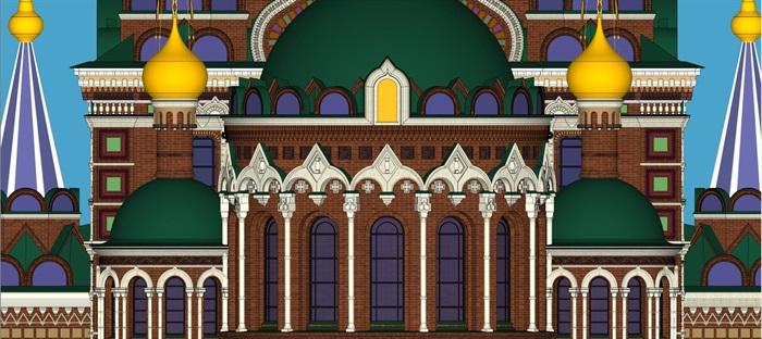 莫斯科滴血大教堂su精细精致模型(7)