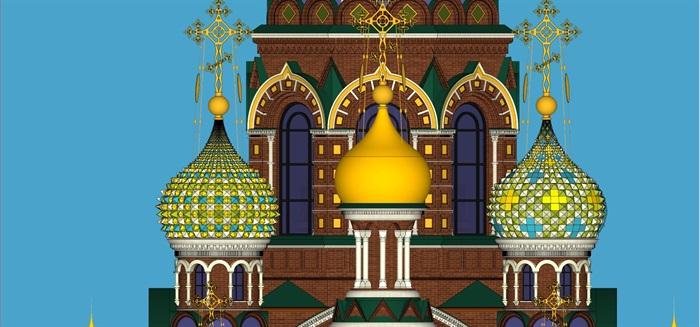 莫斯科滴血大教堂su精细精致模型(8)