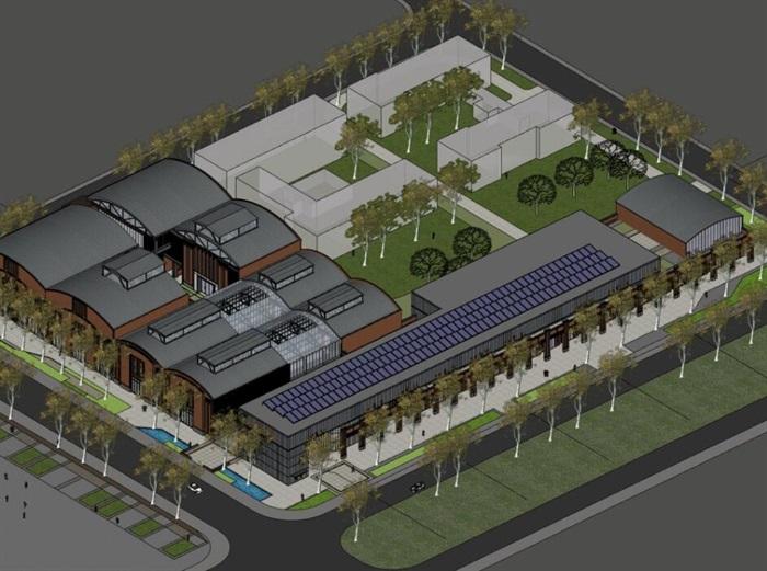 现代工厂规划创意拱形结构红砖厂房设计[原创]图片