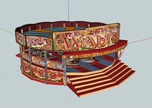 某公园旋转木马游乐设施设计SU(草图大师)模型