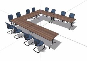 现代风格详细完整的办公桌椅SU(草图大师)模型