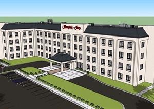欧式风格详细多层的旅馆建筑SU(草图大师)模型
