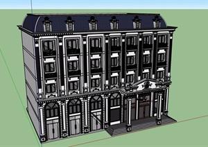 美式风格详细多层旅馆建筑SU(草图大师)模型