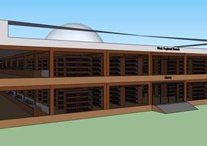 中式图书馆建筑及室内设计SU(草图大师)模型