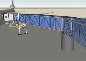登机桥及飞机组合SU(草图大师)模型