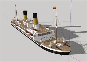 某详细完整的轮船素材设计SU(草图大师)模型
