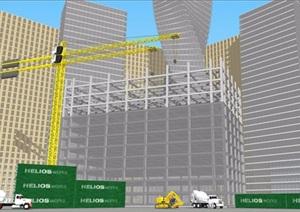 建筑工地场景设计SU(草图大师)模型