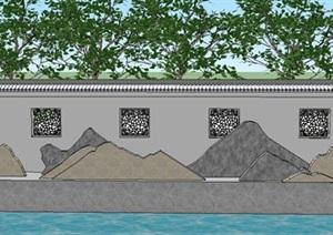 中式景墙新中式景墙片石片岩泰山石雪浪石中式石栏杆SU(草图大师)模型