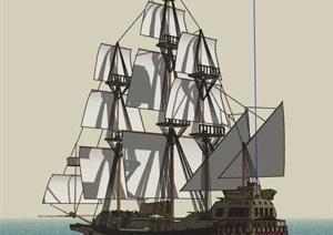 木制帆船设计SU(草图大师)模型