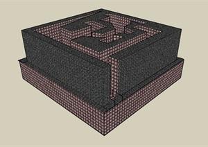 现代城市独特多层办公楼设计SU(草图大师)模型