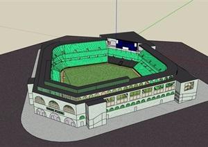某现代风格详细完整的体育场馆建筑SU(草图大师)模型