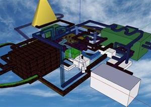某现代风格详细的工业建筑设计SU(草图大师)模型