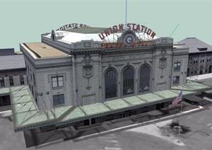 美式风格多层办公建筑楼设计SU(草图大师)模型