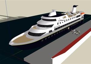 现代风格详细的游轮设计SU(草图大师)模型