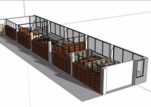 图书馆简单的室内空间SU(草图大师)模型