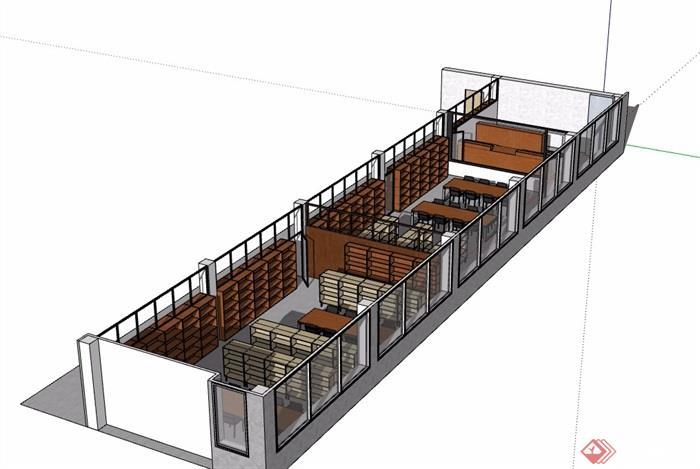 图书馆简单的室内空间su模型