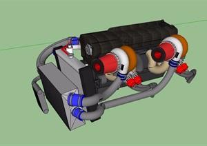 某汽车发动机设计SU(草图大师)模型