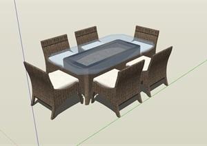 详细精致的餐桌椅素材设计SU(草图大师)模型