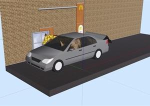 某简单的汽车素材设计SU(草图大师)模型